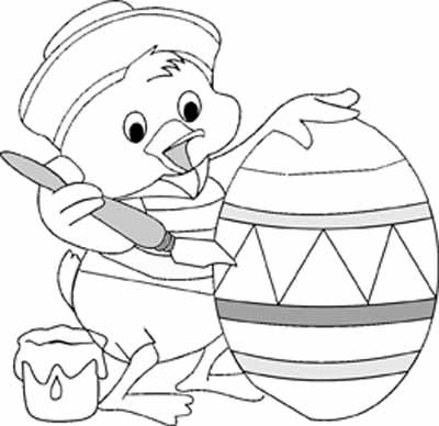 Easter  Coloring Pages on Easter Egg Coloring Pages   Chick Painting Easter Egg