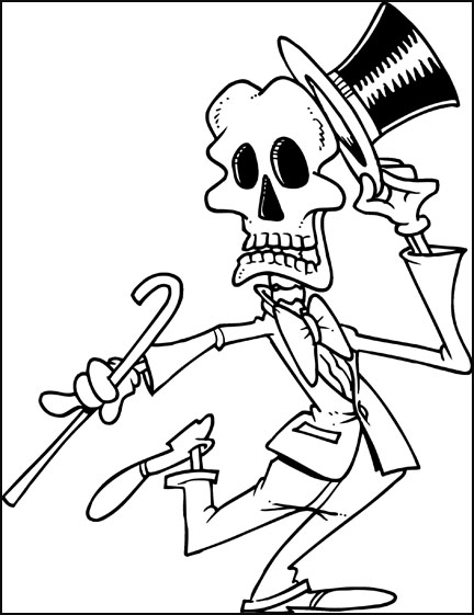 Evil Skull Coloring Pages Dancing skeleton