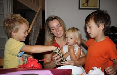 Children and Me Opening Gifts
